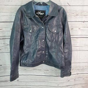 Wilsons Maxima Blue Pearl Snap Leather Jacket LG